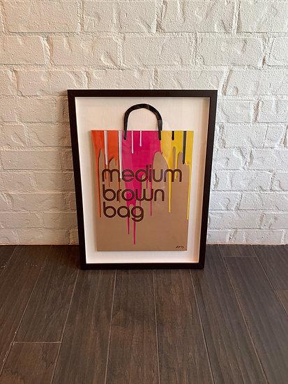 "SINGED ""HARD TO FIND"" KEN TATE BLOOMINGDALE'S ICONIC BROWN BAG DRIP DESIGN"
