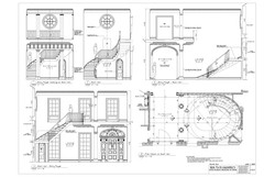 STAIR HALL PLAN AND ELEVATIONS