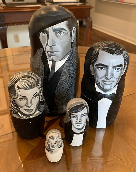CLASSIC FILM ACTOR NESTING DOLLS BY GINGER WILLIAMS COOK
