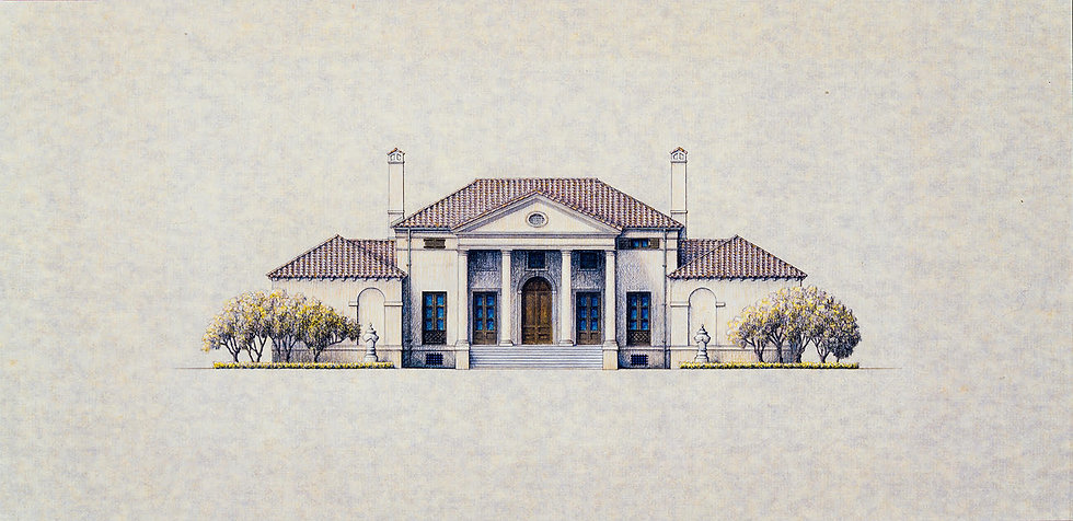 FRAMED ARCHITECTURAL RENDERING OF ONE OF KEN TATE'S ITALIAN VILLAS