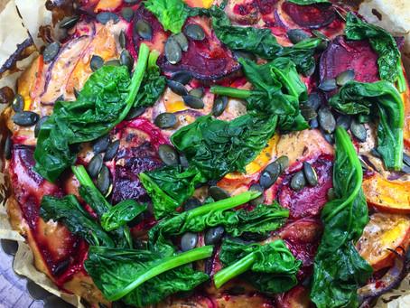 Gemüse-Quiche vegan mit rotem Linsenmehl und Couscous