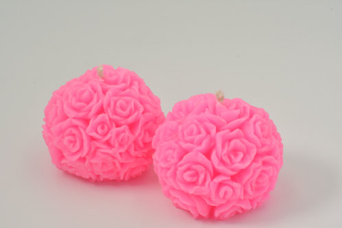 Hot Pink Table Rose Beeswax Candles, Boxed in Singles Pairs or Sets of Six
