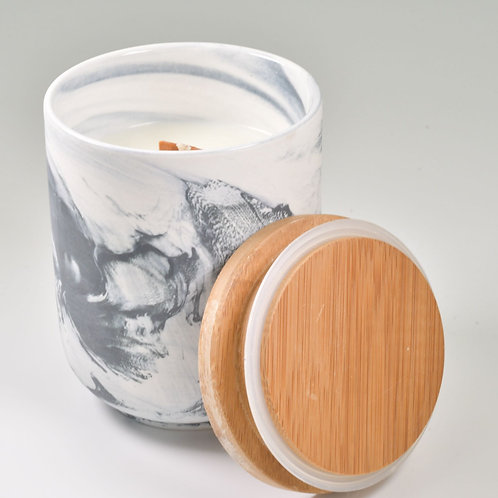 Coconut and Melon Scent Beeswax Soy Blend Candle in Marble Look Jar