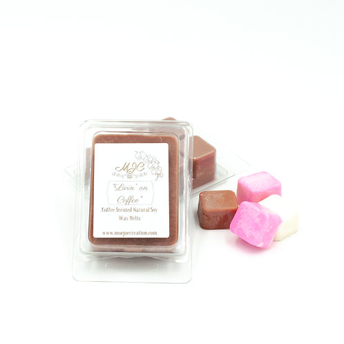 """Living on Coffee"" Scented Soy Wax Melts in Singles and Packs of Three"