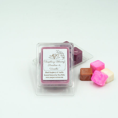 """Raspberry Blowing, Sunshine and Vanilla"" Scented Soy Melts in Singles or Threes"