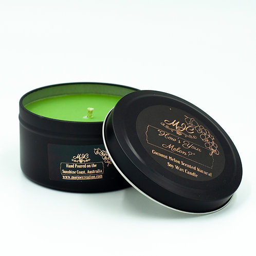 """How's Your Melon"" Scented Soy Wax Candle In Matte Black Large Travel Tin"
