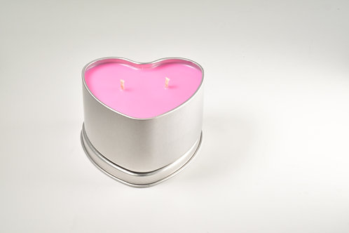 """""""Raspberry Blowing, Sunshine and Vanilla"""" Natural Soy Wax Candle in Heart Tin"""
