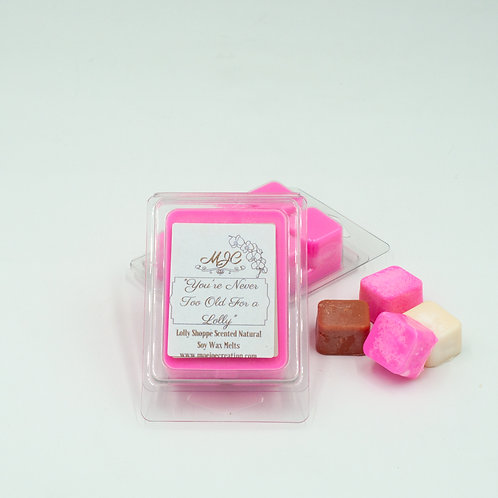 """You're Never Too Old for a Lolly"" Scented Soy Melts in Singles or Threes"
