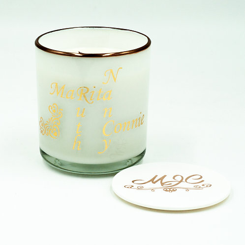 Large Personalised Deluxe Soy Candle in Glass Jar with Lid and Gift Box