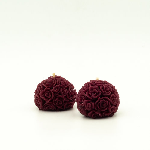 Burgundy Beeswax Table Rose Candle in Flowerbomb Scent in Singles, Pairs or Six