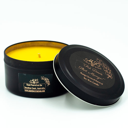 """Put Down That Mango"" Soy Wax Candle in Black Tin"