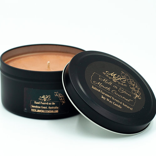 """Melt in Your Mouth Caramel"" Caramel Scent Soy Wax Candle in Tin"