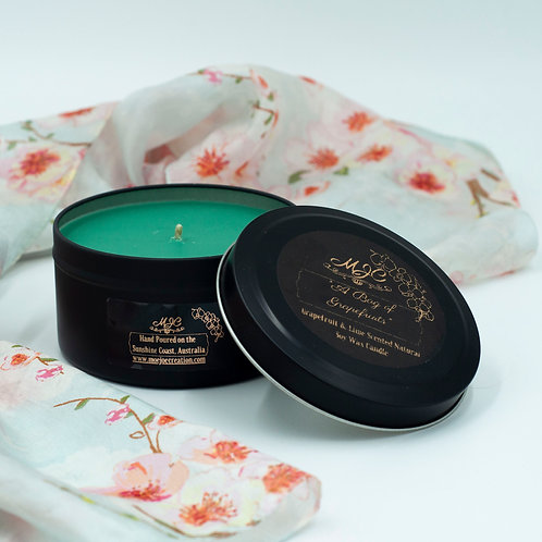 """""""A Bag Of Grapefruits"""" Scented Soy Wax Candle in Matte Black Large Travel Tin"""