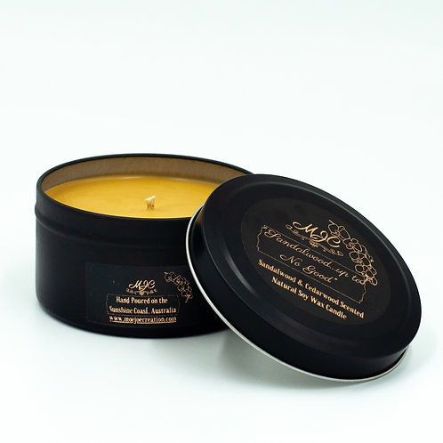 """Sandalwood Up To No Good"" Scented Soy Wax Candle in Matt Black Travel Tin Large"