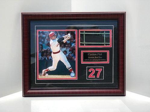 Framed Carlton Fisk w/ backstop