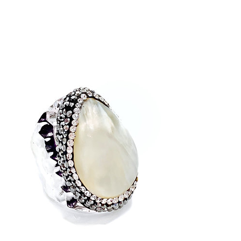 Strengthen the Goddess Within Mother of Pearl Ring -Adjustable Size