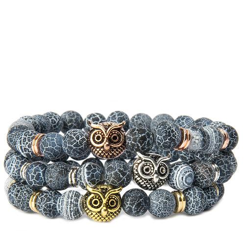Owl Charm with Dragon Vein Stone's  Bracelet