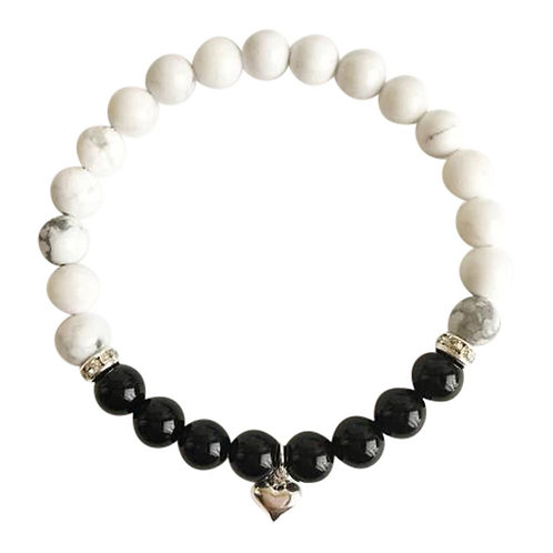 Intuition - Patience - Calm-Black Tourmaline & White Howlite Bracelet