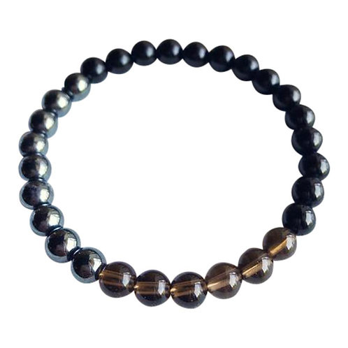 I Am Completely Grounded - Black Onyx, Hematite & Smoky Quartz Bracelet