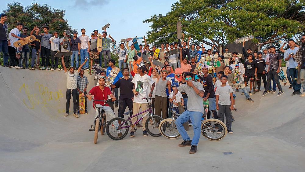 Mumbai boarders at NRI skatepark. Pic credit: Russell Lopez