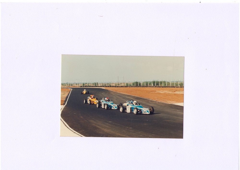 Driving a FISSME, 1990 First ever FISSME race to inaugurate the specially created Sriperambadur Race Track and Navaz in the lead!