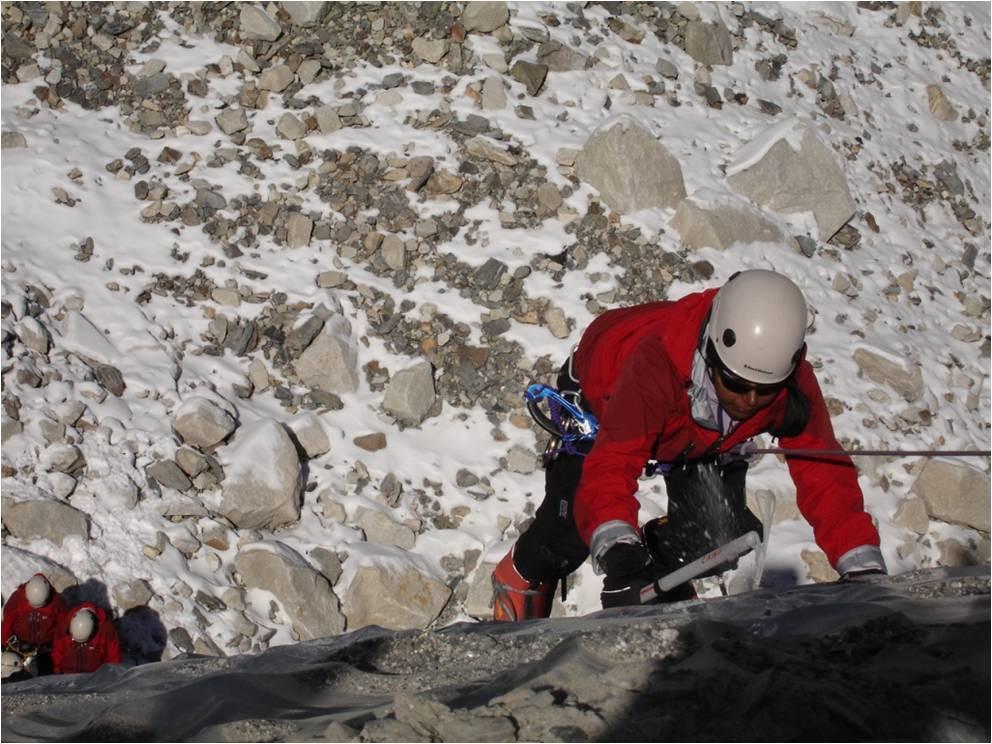 Climbing an ice wall in Siachen Glacier, 2011. Pic Credit: Toolika Rani