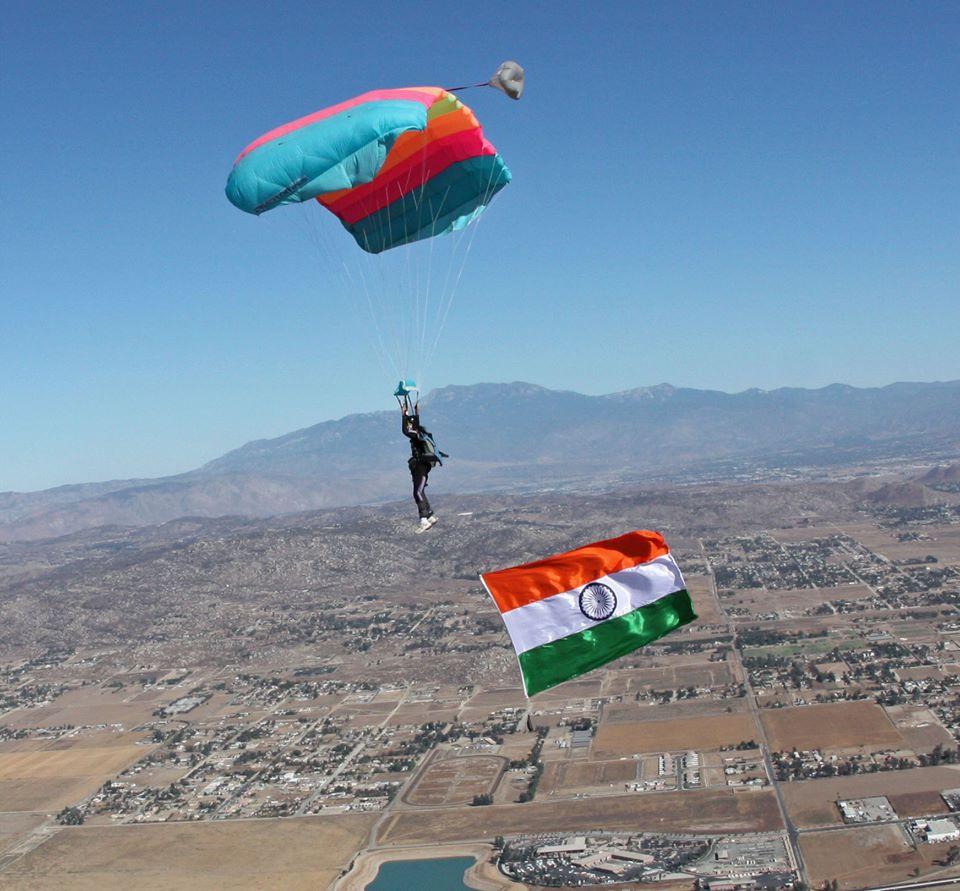 Archana Sardana Base Jumping with the Indian Flag