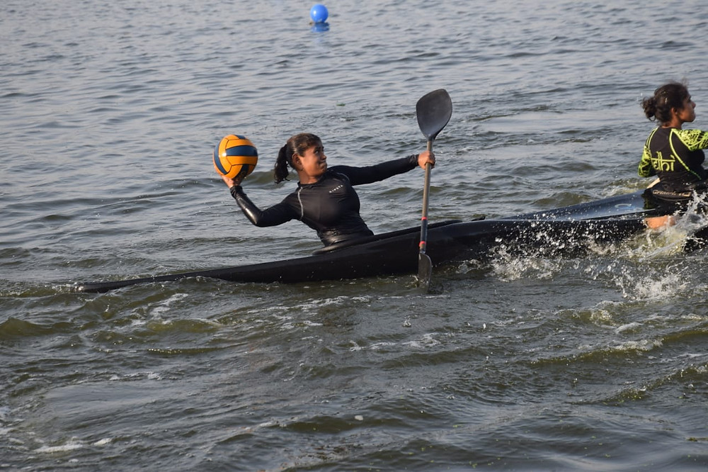 Nidhi in action while playing canoepolo. Picture Credit: Nidhi