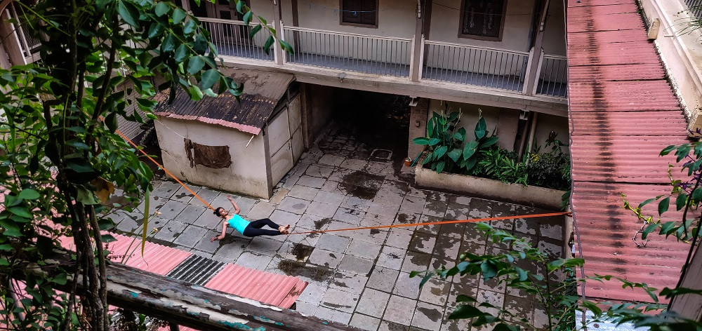 Tanmayi Gidh balancing on the line ©Inspire Crew