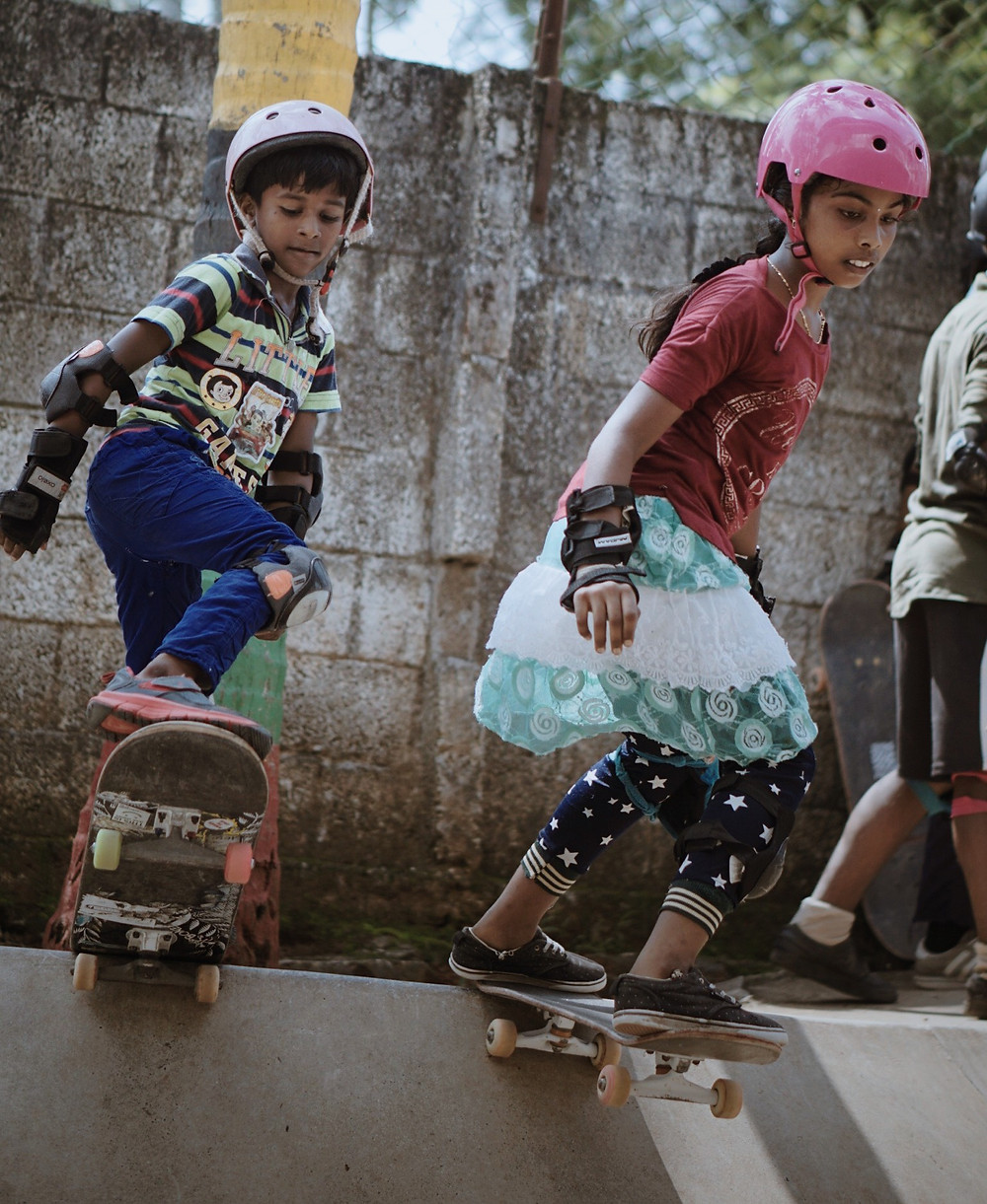 Achu and Vidya on ramp from SISP skate park. Pic Credit: Alwin John