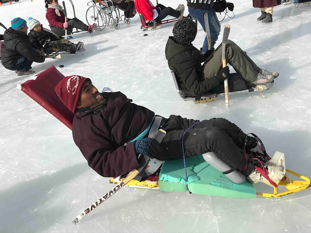 One of the participant enjoying his day out during camp to play ice hockey. Pic Credit: Shruti More
