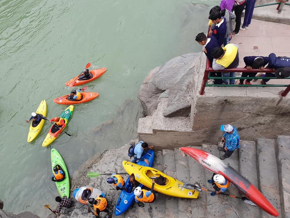 Kayakers getting ready to get in the holy river. Picture Credit: Facebook