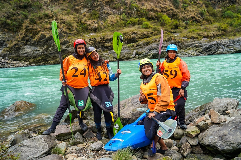 Women kayakers posing for a picture before starting their race. Picture Credit: Gokul Krishnan