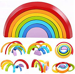 Montessori Wooden Rainbow Toy Colored Ar
