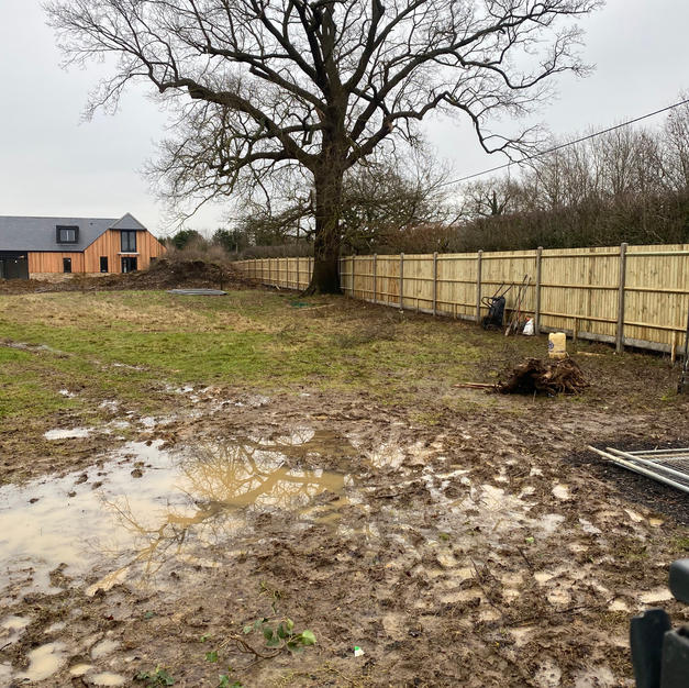 Concrete featheredge fencing for a development in Windsor.