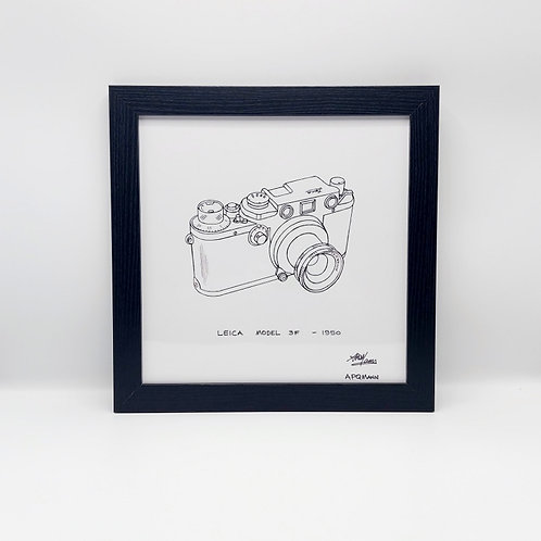 Framed Original Art Print - Leica Model 3F 1950