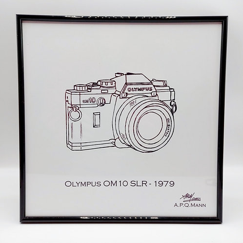 Framed Original Art Print – Olympus OM10 SLR