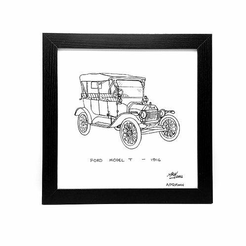 Framed Original Art Print - Ford Model T, 1916