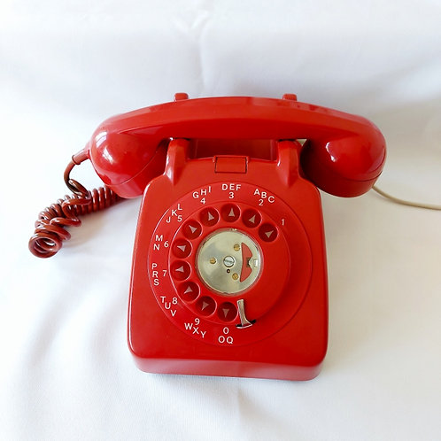 Vintage Red Rotary Telephone