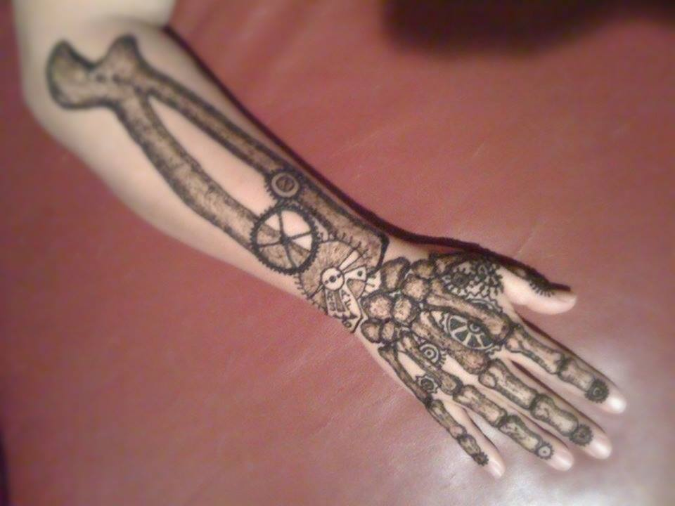 steampunk skeleton arm henna