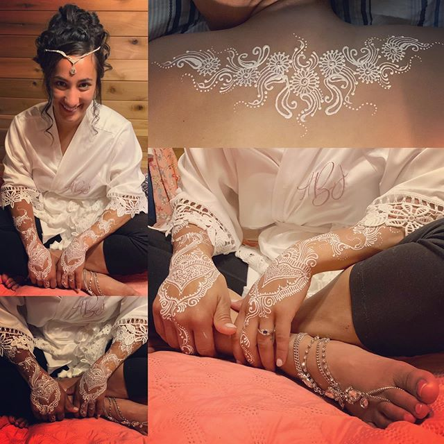 First bridal henna glam with rhinestone