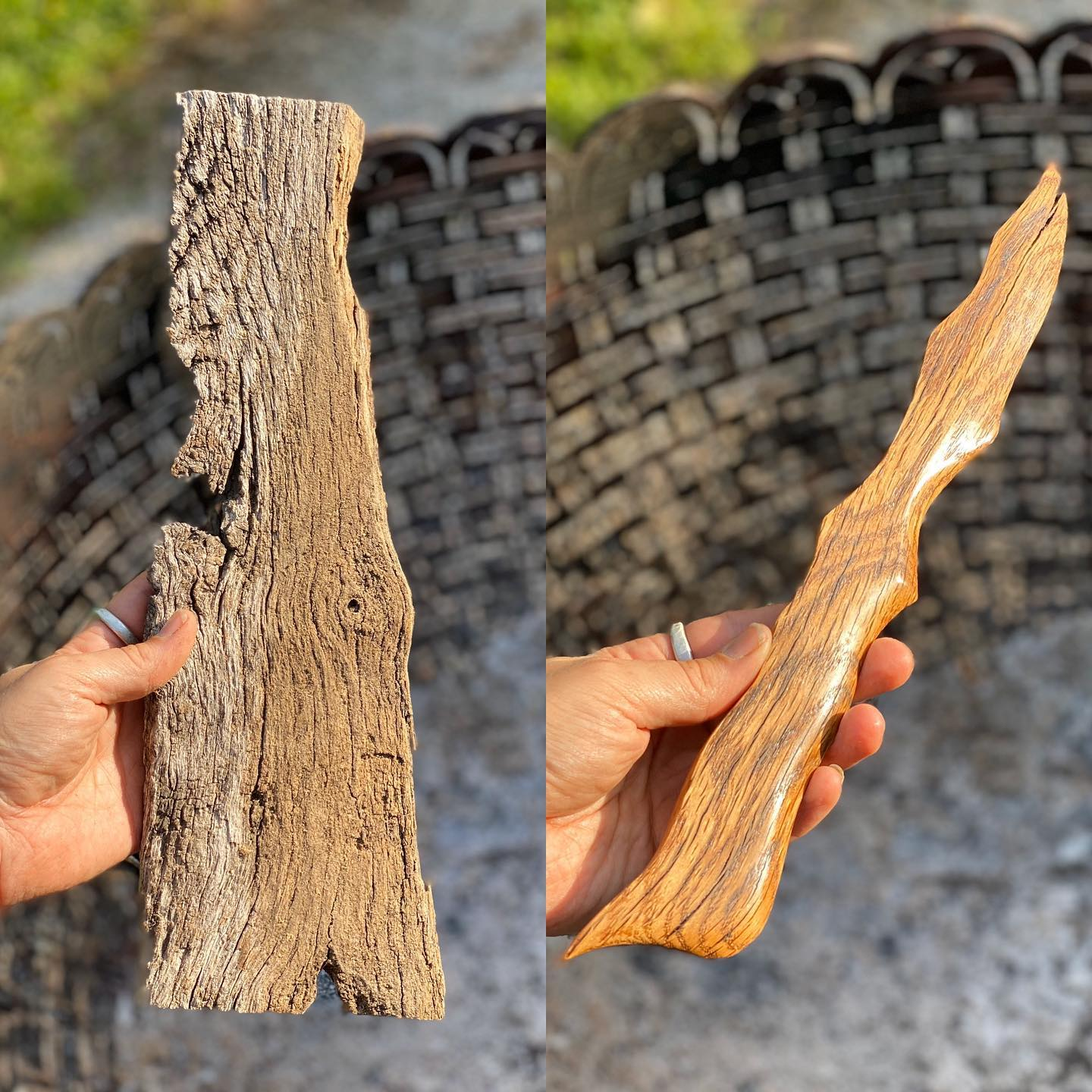 red oak wood knife