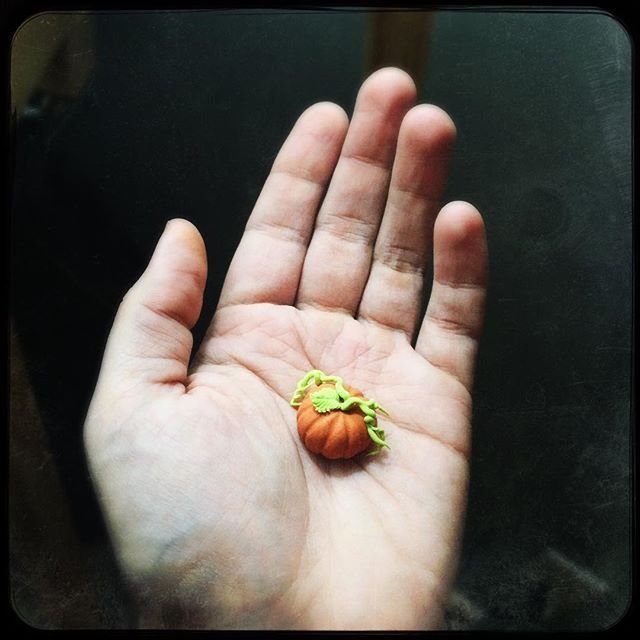 Tiny polymer clay pumpkin