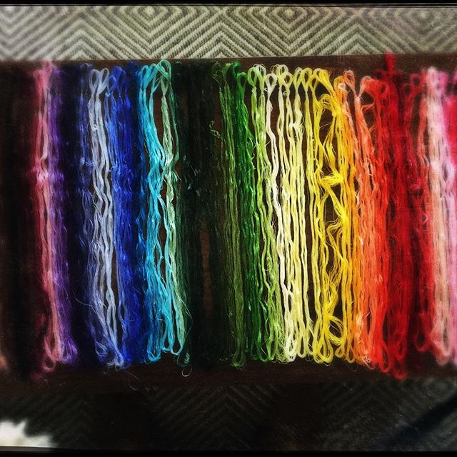 100 colors of hand dyed silk thread for