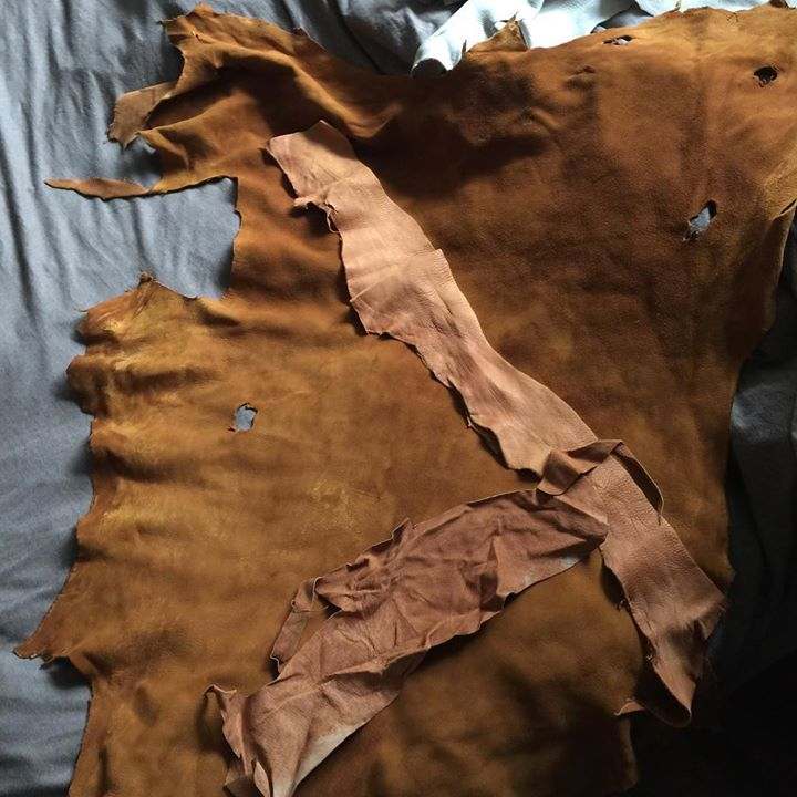 Rough leather scraps that will end up as