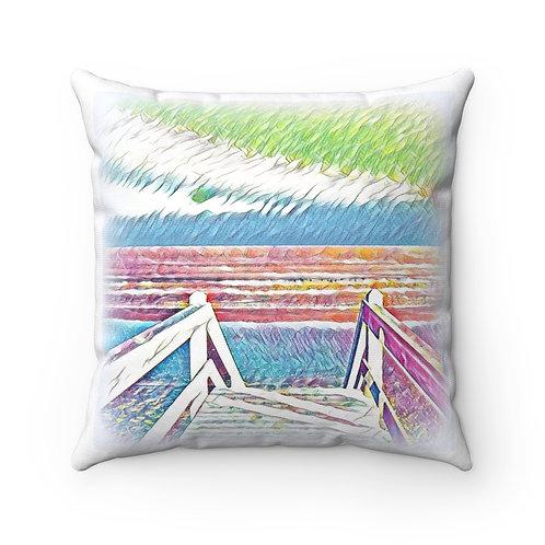 """14"""" Beachy Throw Pillow Ocean Art Between Heaven and Hell Beach Decor"""