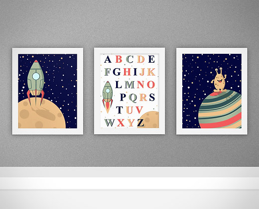סט חללית, חייזר ו- ABC לחדר ילדים