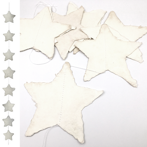 Girlande mit 8 Pappmaché Sternen 150cm antikweiss