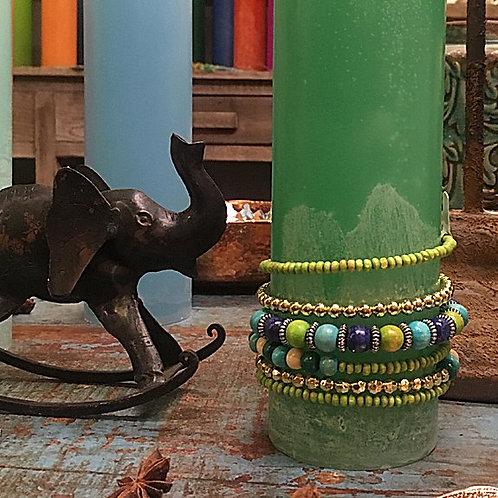 Kerzenschmuck/Armreif grün-türkis