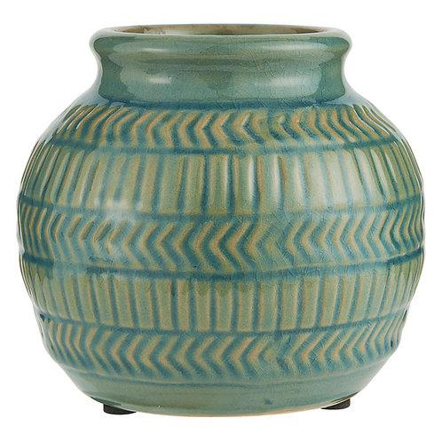 Vase mit geometrischem Muster petrol/senf (H14)